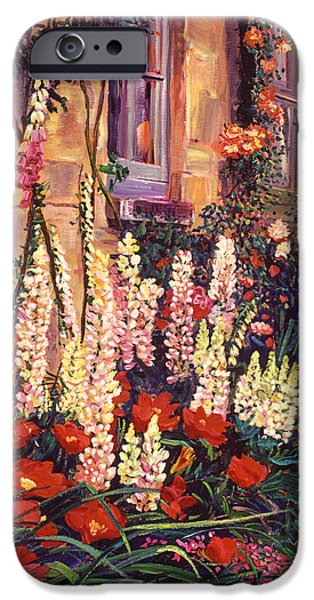 Hollyhock iPhone Cases - English Cottage Garden iPhone Case by David Lloyd Glover