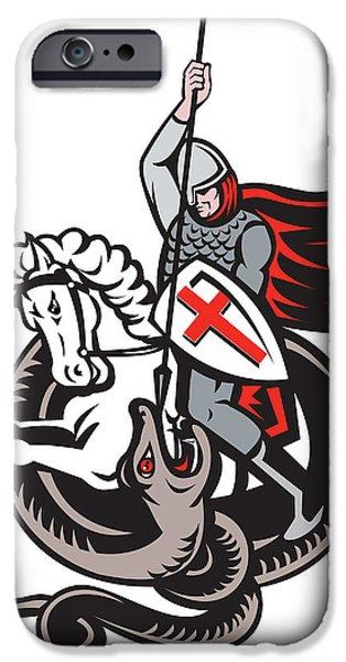 English Knight Fighting Dragon England Flag Shield Retro iPhone Case by Aloysius Patrimonio
