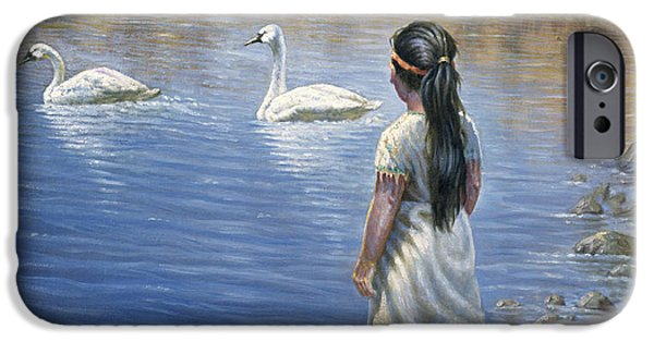 Western Art Digital Art iPhone Cases - Enjoying the Trumpeter Swans iPhone Case by Gregory Perillo