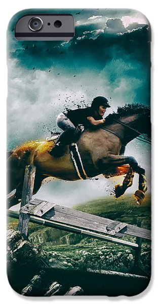 Dark Skies Digital iPhone Cases - Equestrian Jumper iPhone Case by Mountain Dreams