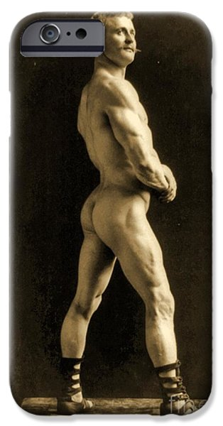 Muscle Paintings iPhone Cases - Eugen Sandow iPhone Case by Napoleon Sarony