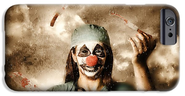 Juggling iPhone Cases - Evil surgeon clown juggling bloody knives outside iPhone Case by Ryan Jorgensen