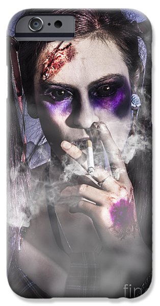 Haunted Schools iPhone Cases - Evil zombie schoolgirl smoking cigarette iPhone Case by Ryan Jorgensen