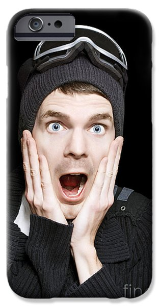 Dismay iPhone Cases - Excited Face Of A Surprised Man Wearing Ski Gear iPhone Case by Ryan Jorgensen