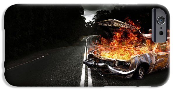 Gut iPhone Cases - Explosive Car Bomb iPhone Case by Ryan Jorgensen