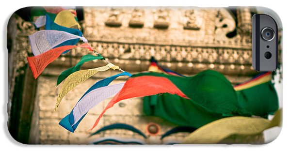 East Pyrography iPhone Cases - Eye Boudhanath Stupa in Nepal iPhone Case by Raimond Klavins
