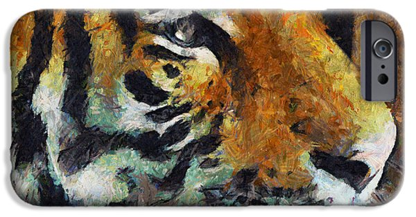 The Tiger iPhone Cases - Eye Of The Tiger iPhone Case by Georgiana Romanovna