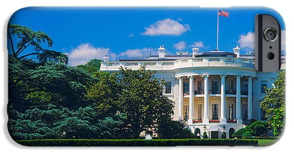 White House iPhone Cases - Facade Of A Government Building, White iPhone Case by Panoramic Images