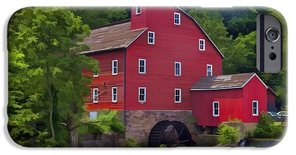 Old Barn Photo Photographs iPhone Cases - Faded Red Water Mill on the Dam of the Raritan River iPhone Case by David Letts