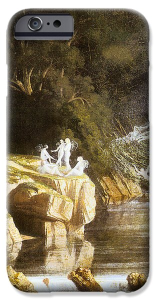 Fairies by a Rocky Stream iPhone Case by Francis Danby