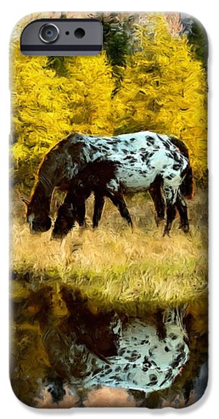 Cheetah Digital Art iPhone Cases - Fall Reflections iPhone Case by Roger D Hale
