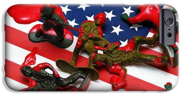 Bloody Battle iPhone Cases - Fallen Toy Soliders on American Flag iPhone Case by Amy Cicconi