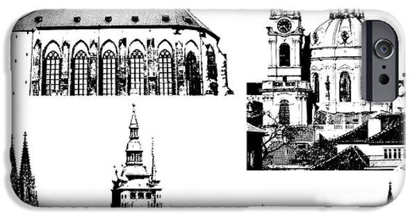 Prague Digital iPhone Cases - famous landmarks of Prague iPhone Case by Michal Boubin