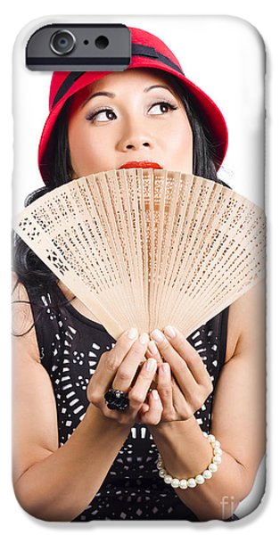 Chinese Woman iPhone Cases - Fan of Asia. Stylish Chinese lady with oriental fan iPhone Case by Ryan Jorgensen