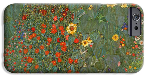 Garden Scene Paintings iPhone Cases - Farm Garden With Sunflowers iPhone Case by Gustav Klimt