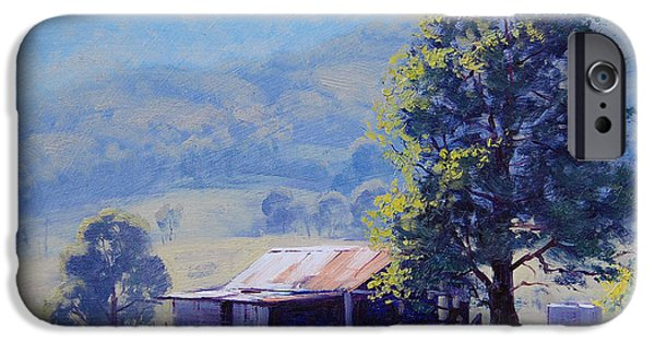 Shed Paintings iPhone Cases - Farm Shed iPhone Case by Graham Gercken
