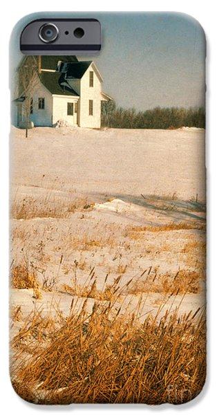 Wintertime iPhone Cases - Farmhouse in Winter iPhone Case by Jill Battaglia
