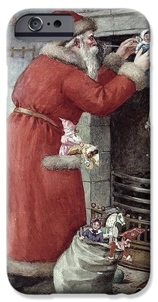 Christmas Eve Paintings iPhone Cases - Father Christmas iPhone Case by Karl Roger