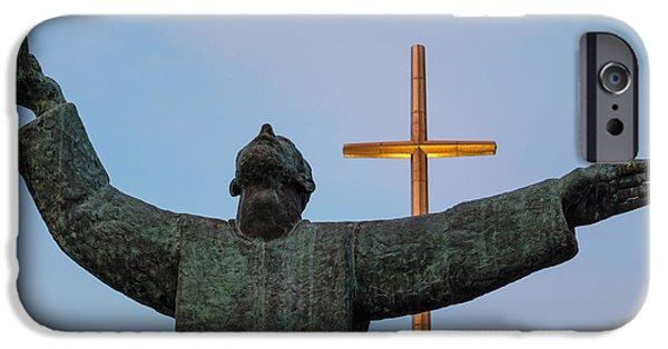 Nombre iPhone Cases - Father Francisco Lopez de Mendoza Grajales statue at sunset Mission Nombre de Dios St. Augustine FL iPhone Case by Dawna  Moore Photography