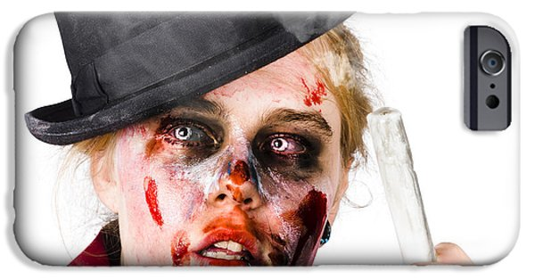 Ghastly iPhone Cases - Fearful zombie woman holding blown out candle iPhone Case by Ryan Jorgensen
