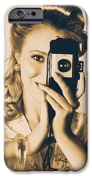 Artistic Portraiture iPhone Cases - Female Fashion Photographer Taking People Pictures iPhone Case by Ryan Jorgensen
