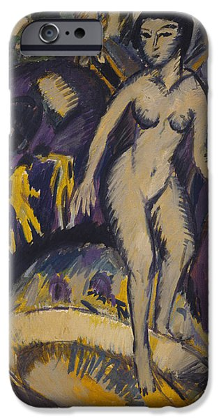 Bathing Paintings iPhone Cases - Female Nude with Hot Tub iPhone Case by Ernst Ludwig Kirchner