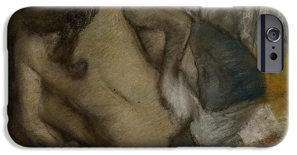 Feminine Pastels iPhone Cases - Femme Au Tub iPhone Case by Edgar Degas