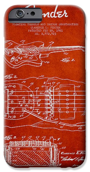 Fender Floating Tremolo patent Drawing from 1961 - Red iPhone Case by Aged Pixel
