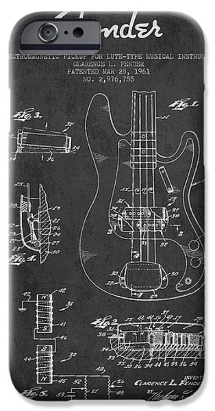 Technical iPhone Cases - Fender Guitar Patent Drawing from 1961 iPhone Case by Aged Pixel