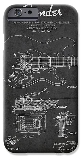 Recently Sold -  - Technical iPhone Cases - Fender Tremolo Device patent Drawing from 1956 iPhone Case by Aged Pixel