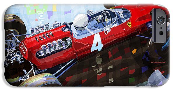 Racing Mixed Media iPhone Cases - Ferrari 158 F1 1965 Dutch GP Lorenzo Bondini iPhone Case by Yuriy  Shevchuk