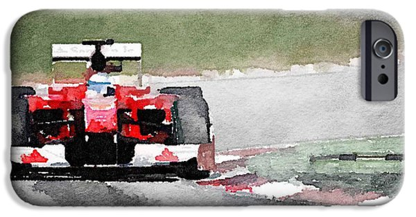 Old Cars iPhone Cases - Ferrari F1 Race Watercolor iPhone Case by Naxart Studio