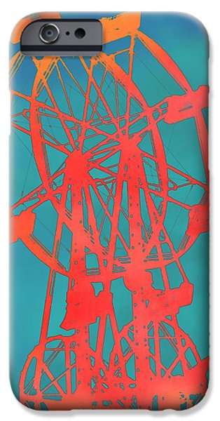 Young Mixed Media iPhone Cases - Ferris Wheel Pop Art iPhone Case by Dan Sproul