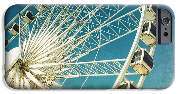 Pleasure iPhone Cases - Ferris wheel retro iPhone Case by Jane Rix