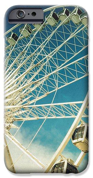 Ferris wheel retro iPhone Case by Jane Rix