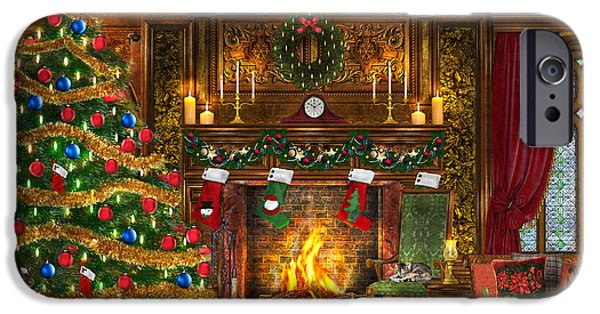 Indoor iPhone Cases - Festive Fireplace iPhone Case by Dominic Davison