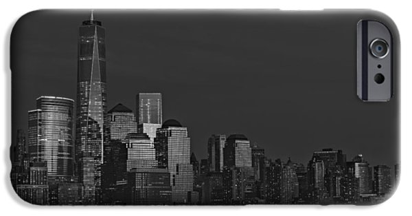 Hudson River iPhone Cases - Financial District In New York City At Twilight iPhone Case by Susan Candelario