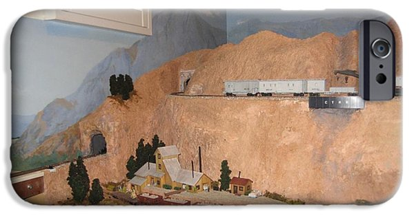 Desert Scape iPhone Cases - Finished train room with mural backdrop iPhone Case by Maria Hunt