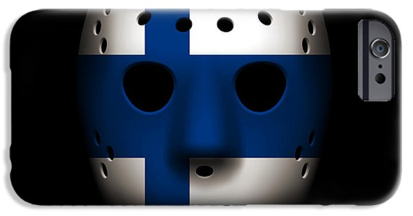 Finland iPhone Cases - Finland Goalie Mask iPhone Case by Joe Hamilton