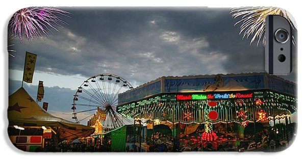 Anticipation Photographs iPhone Cases - Fireworks At An Amusement Park iPhone Case by Darren Greenwood
