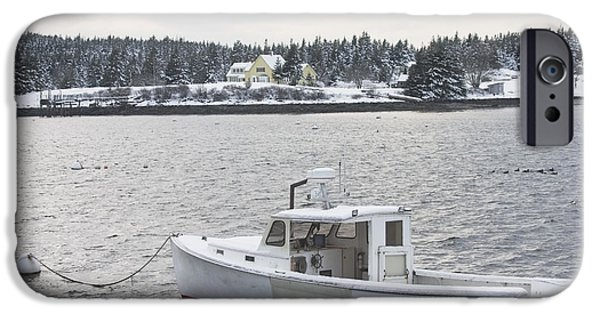 Recently Sold -  - Winter In Maine iPhone Cases - Fishing Boat After Snowstorm in Port Clyde Harbor Maine iPhone Case by Keith Webber Jr