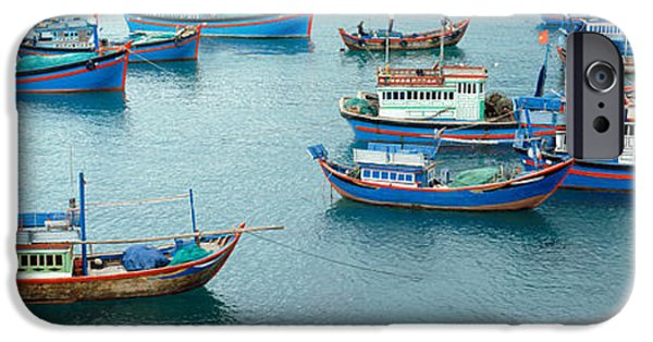 Industry iPhone Cases - Fishing Boats At A Harbor, Mui Ne iPhone Case by Panoramic Images