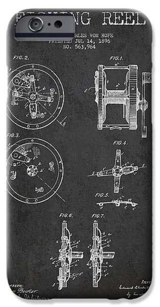 Reeling iPhone Cases - Fishing Reel Patent from 1896 iPhone Case by Aged Pixel
