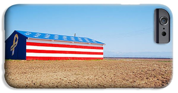 American Flag iPhone Cases - Flag Barn Along Highway 41, Fresno iPhone Case by Panoramic Images