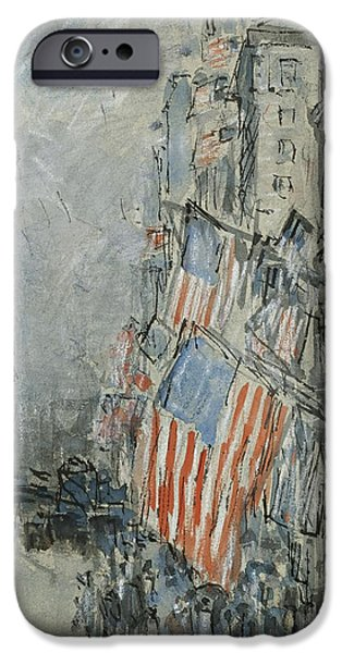 4th July Paintings iPhone Cases - Flag Day. Fifth Avenue. July 4th 1916 iPhone Case by Childe Hassam