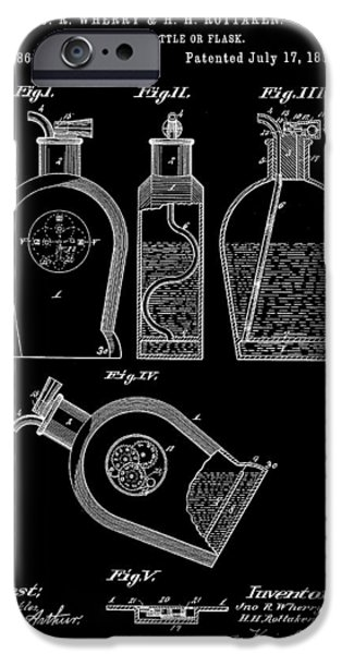 Wine Sipping iPhone Cases - Flask Patent 1888 - Black iPhone Case by Stephen Younts