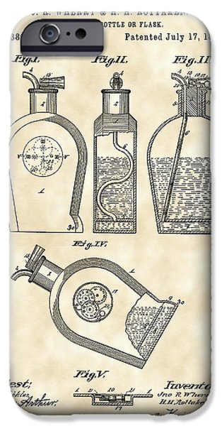 Wine Sipping iPhone Cases - Flask Patent 1888 - Vintage iPhone Case by Stephen Younts