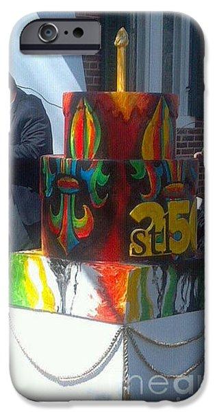 Mardi Gras Paintings iPhone Cases - Fleur De Lis Cake iPhone Case by Genevieve Esson