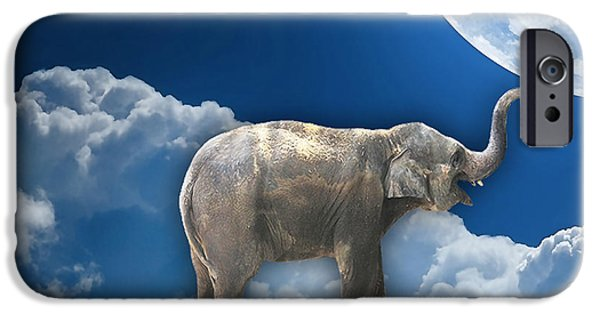 Elephants iPhone Cases - Flight Of The Elephant iPhone Case by Marvin Blaine