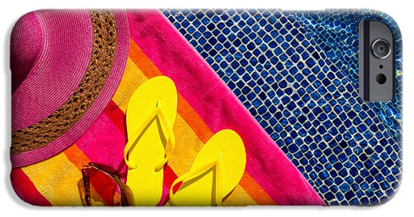 The Pool iPhone Cases - Flip Flops by the Pool iPhone Case by Teri Virbickis